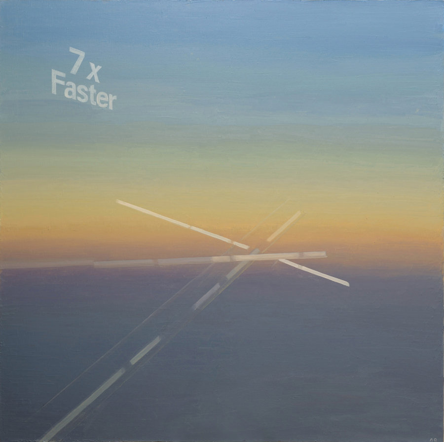 7x faster. 2012, oil on canvas, 180x180