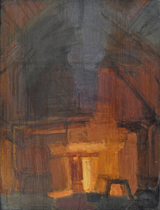 The Blast Furnace. Night. 2008 oil on canvas 170x130 The Academician I. Bardin's Scientific and Technical Museum, Novokuznetsk
